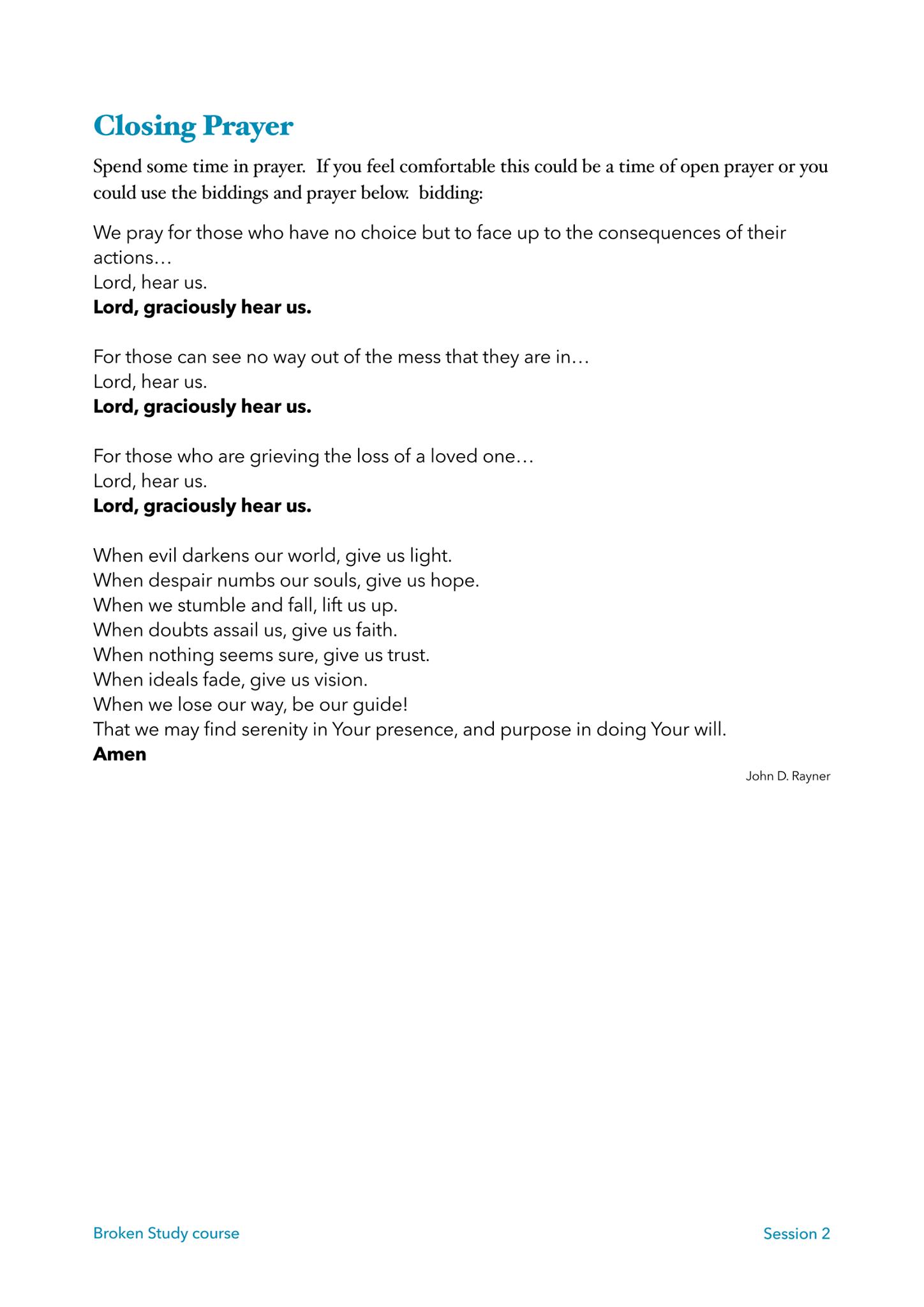 Broken Lent Course – Session 2 Worksheets – Roborough Team Ministry