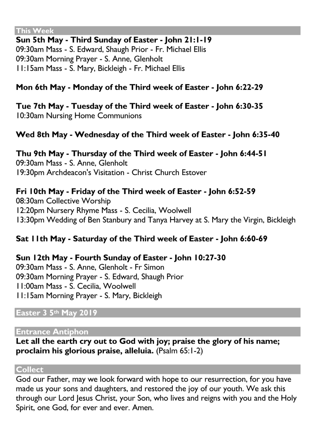 Weekly Noticesheet – Easter 3 – Roborough Team Ministry
